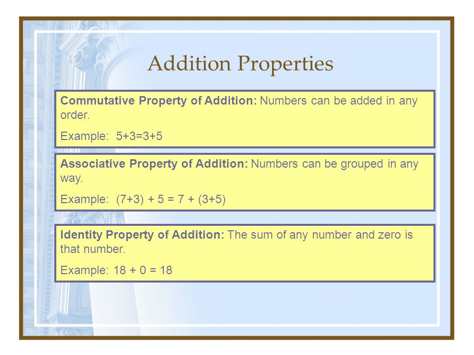 Addition Properties Commutative Property of Addition: Numbers can be added in any order. Example: 5+3=3+5.