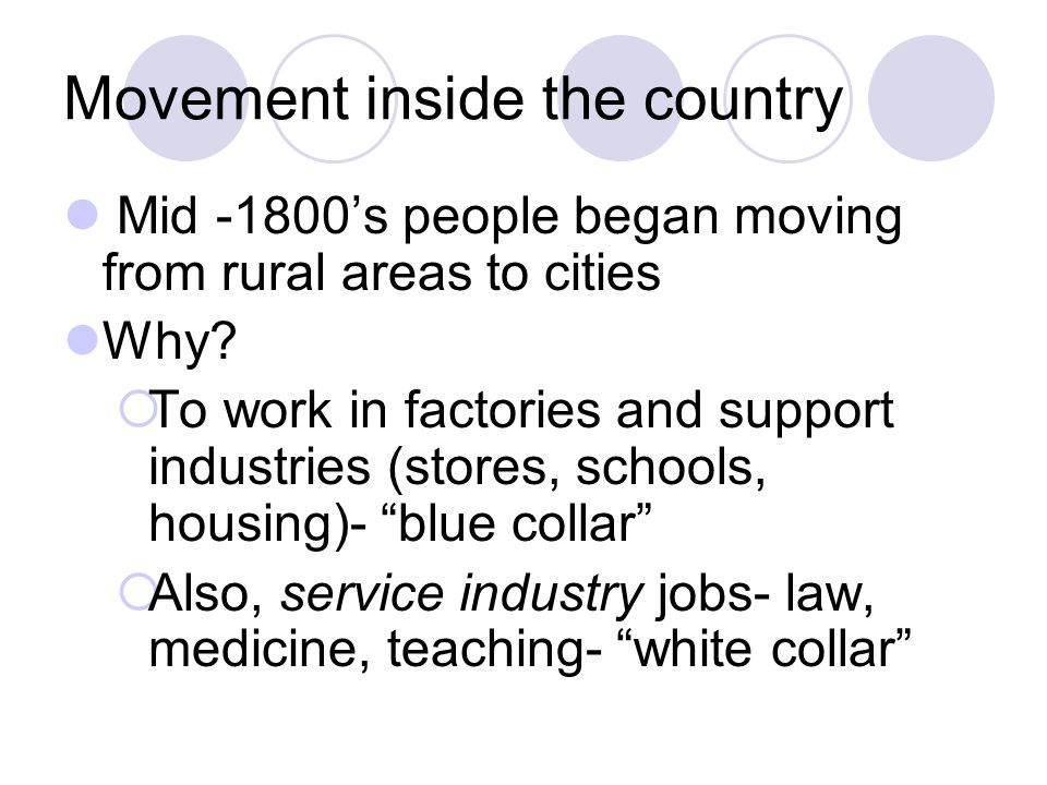Movement inside the country