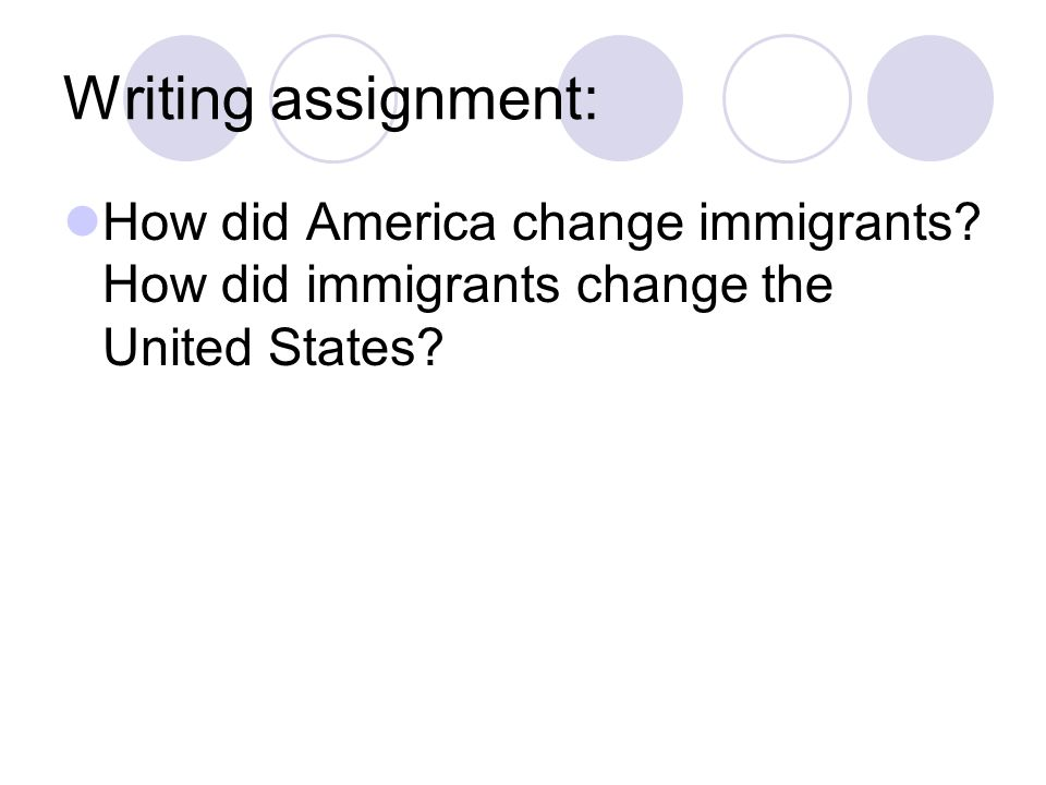 Writing assignment: How did America change immigrants.