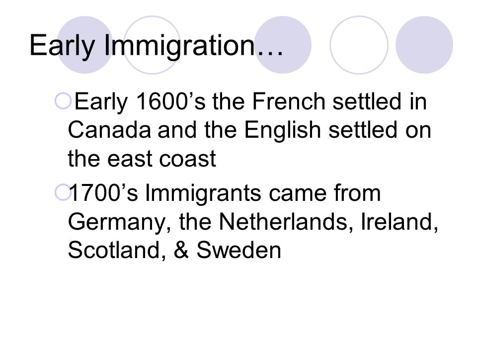 Early Immigration… Early 1600's the French settled in Canada and the English settled on the east coast.
