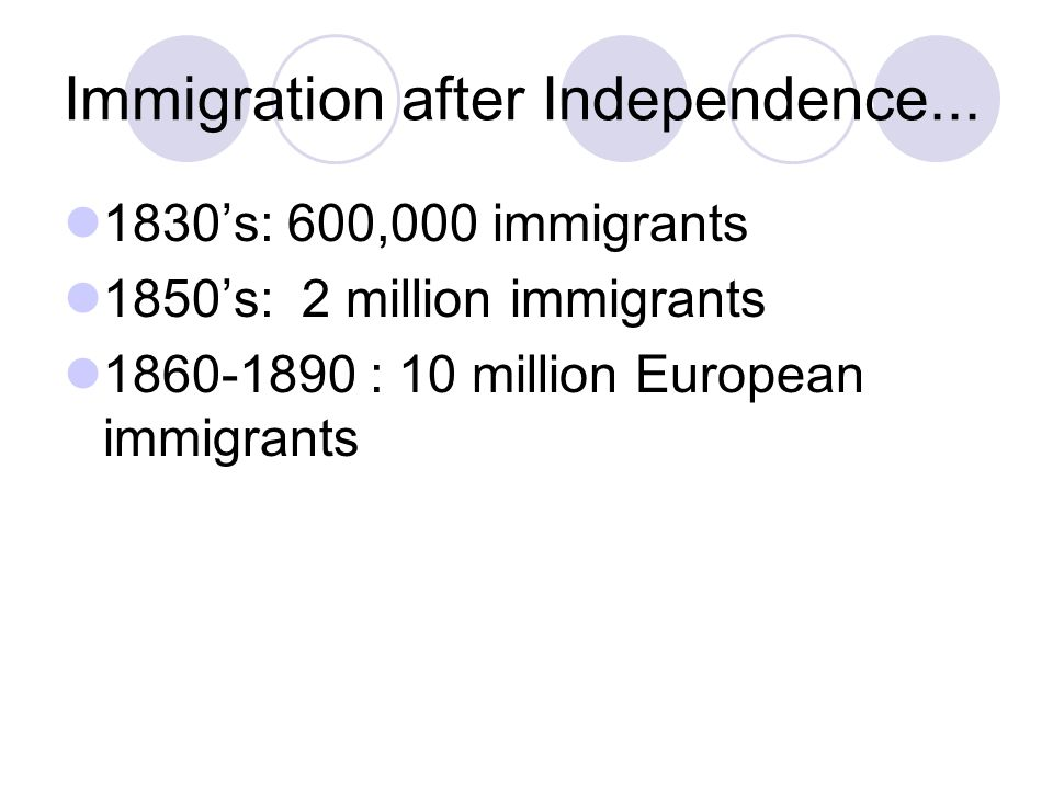 Immigration after Independence...