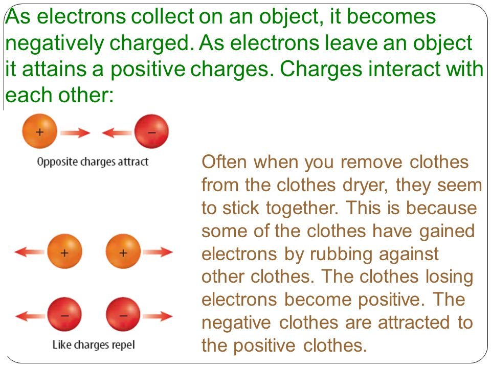 As electrons collect on an object, it becomes negatively charged
