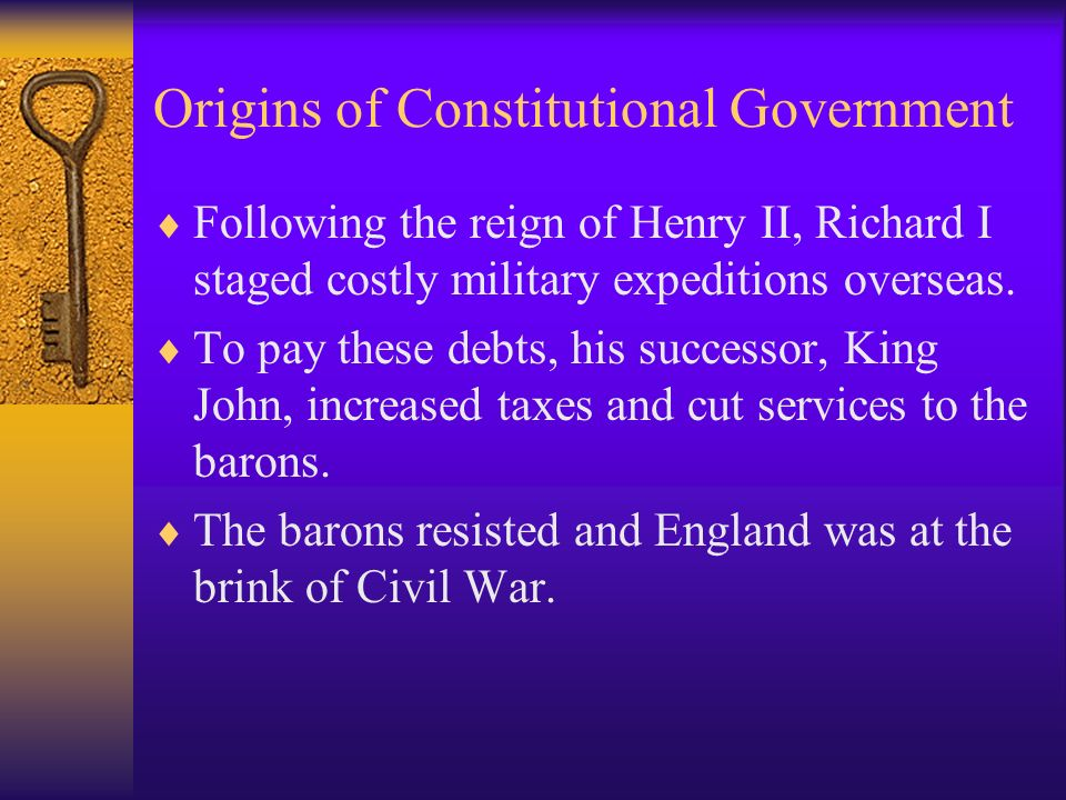 Origins of Constitutional Government