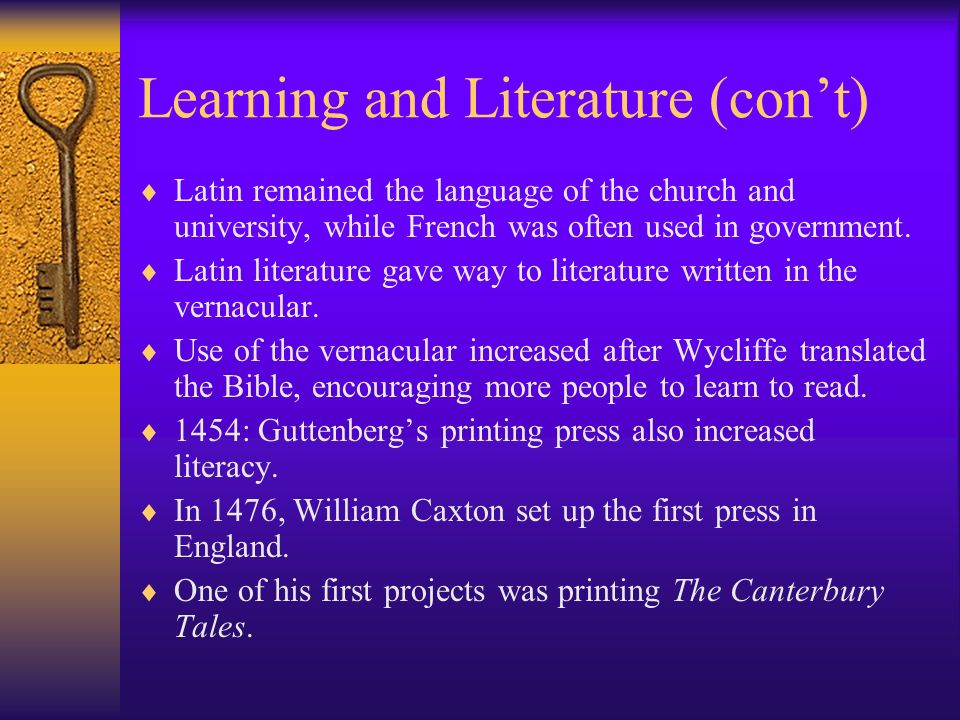 Learning and Literature (con't)