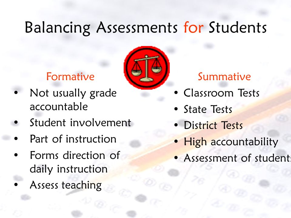 Balancing Assessments for Students