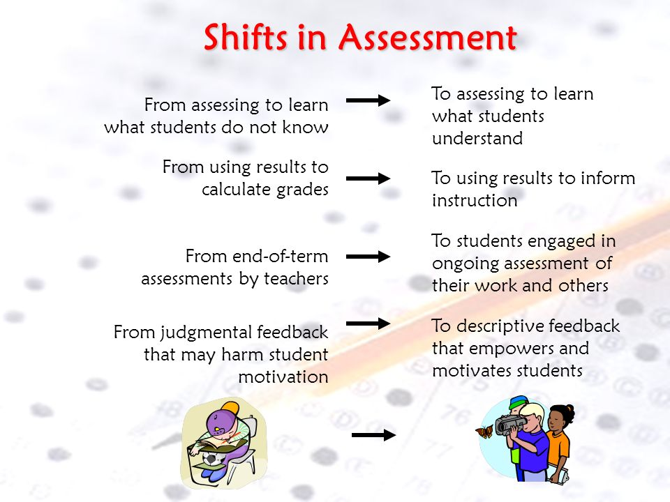 Shifts in Assessment To assessing to learn what students understand