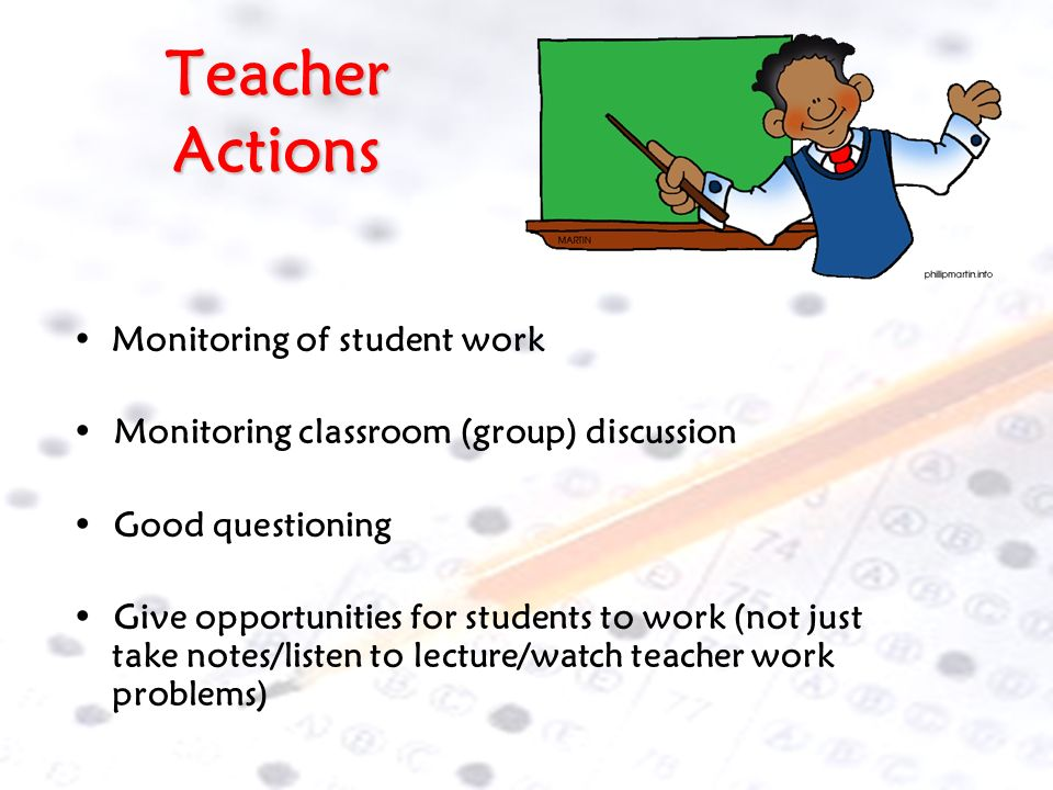 Teacher Actions Monitoring of student work