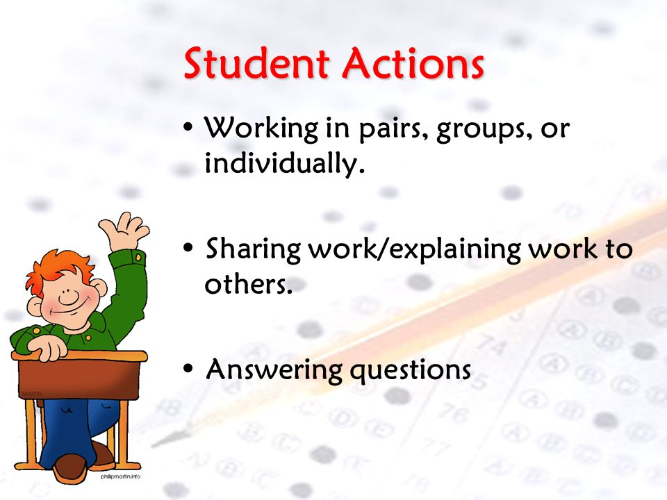 Student Actions Working in pairs, groups, or individually.