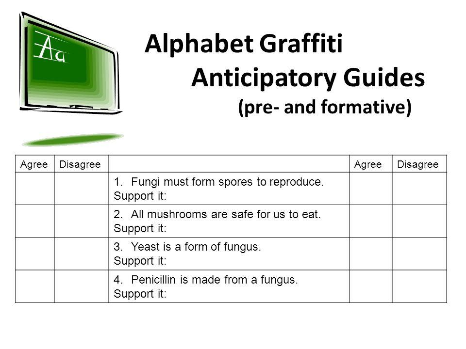 Alphabet Graffiti Anticipatory Guides (pre- and formative)
