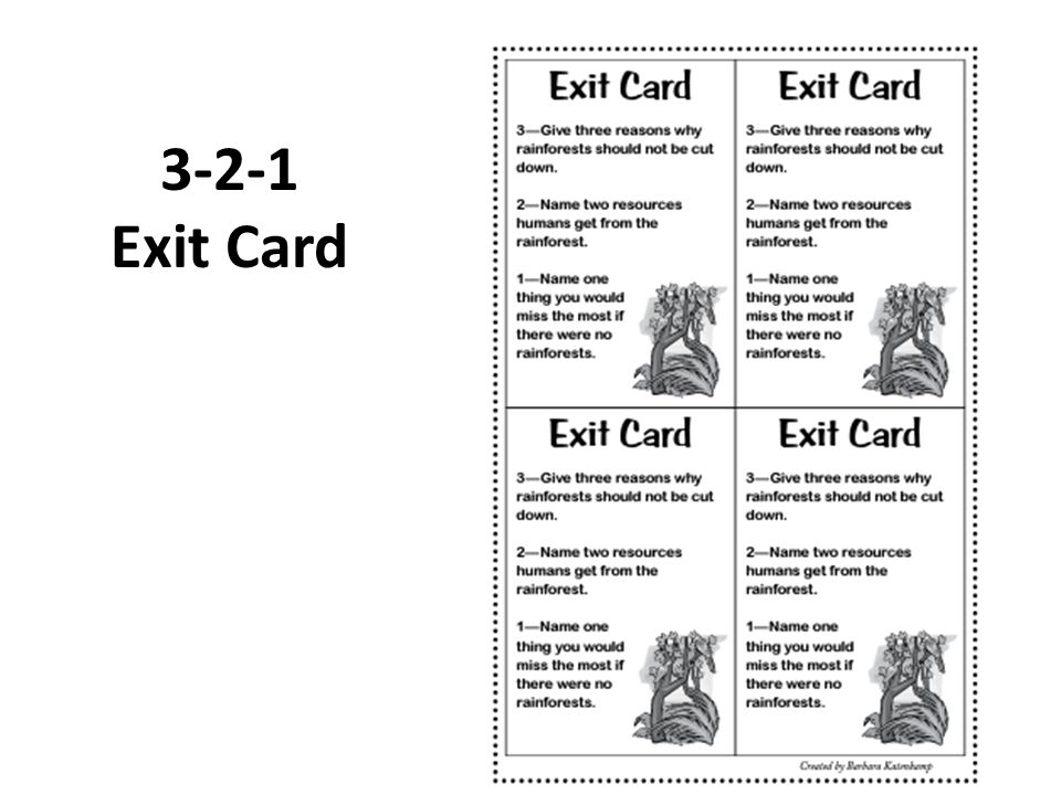 3-2-1 Exit Card