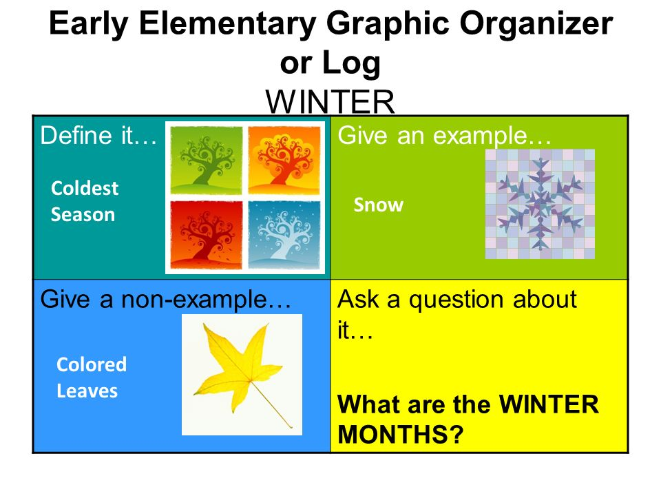 Early Elementary Graphic Organizer or Log WINTER