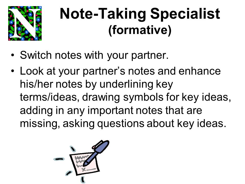 Note-Taking Specialist (formative)