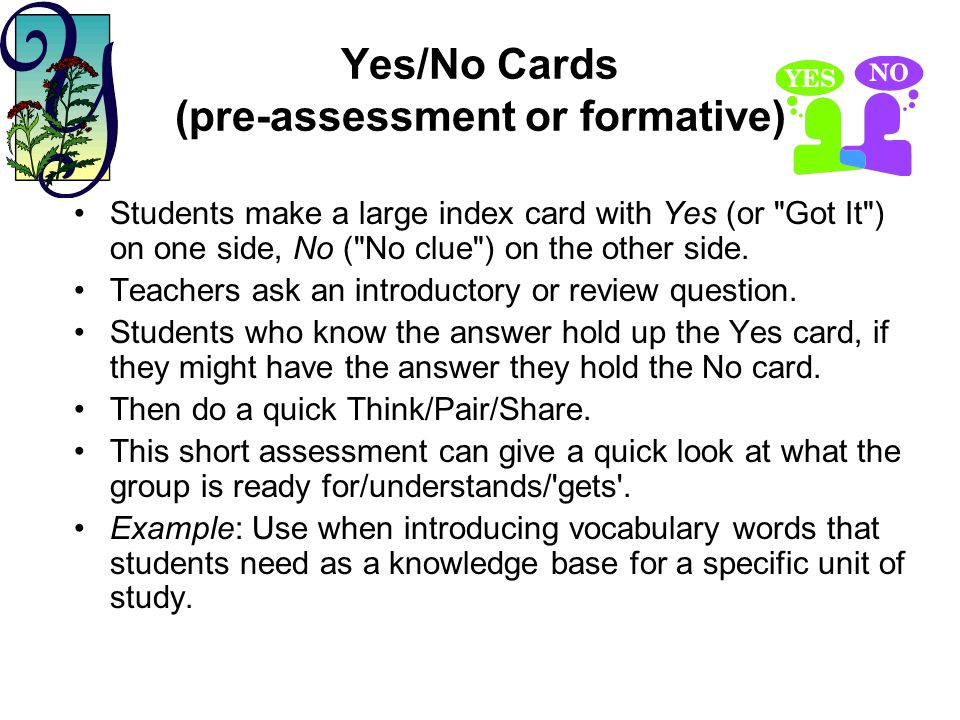 Yes/No Cards (pre-assessment or formative)