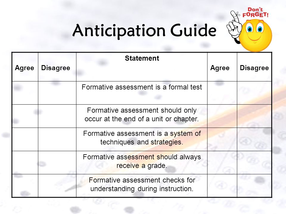 Anticipation Guide Statement Formative assessment is a formal test