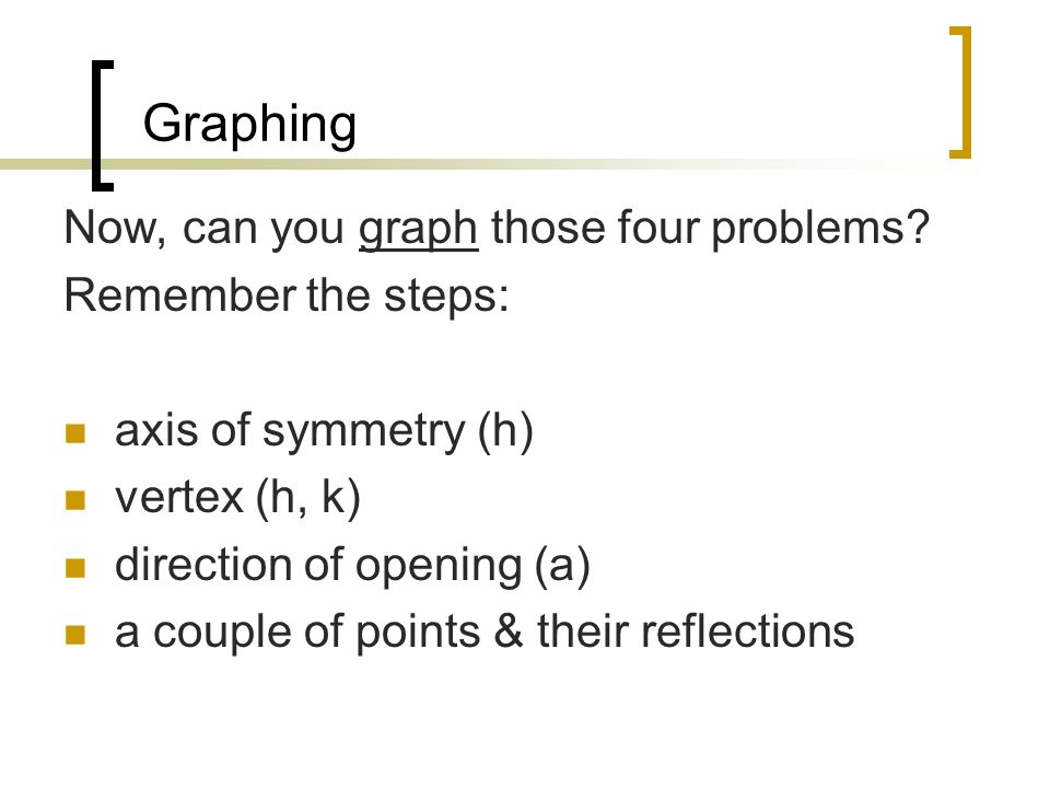 Graphing Now, can you graph those four problems Remember the steps: