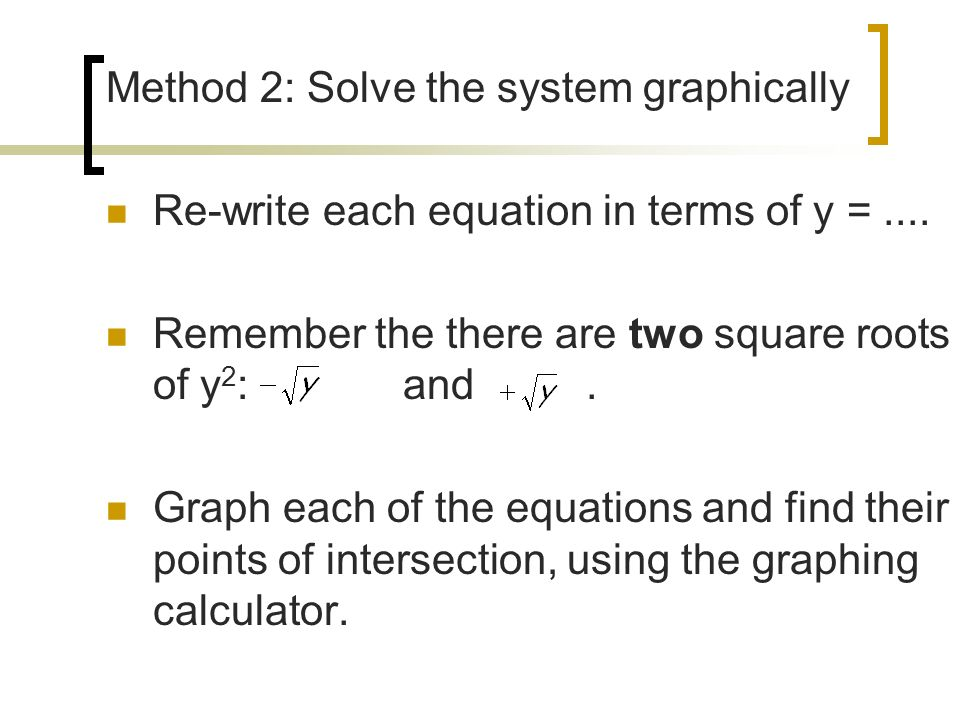 Method 2: Solve the system graphically
