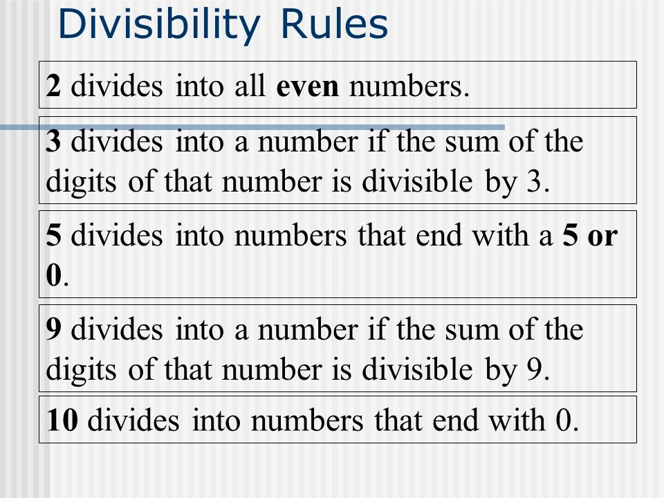 Divisibility Rules 2 divides into all even numbers.