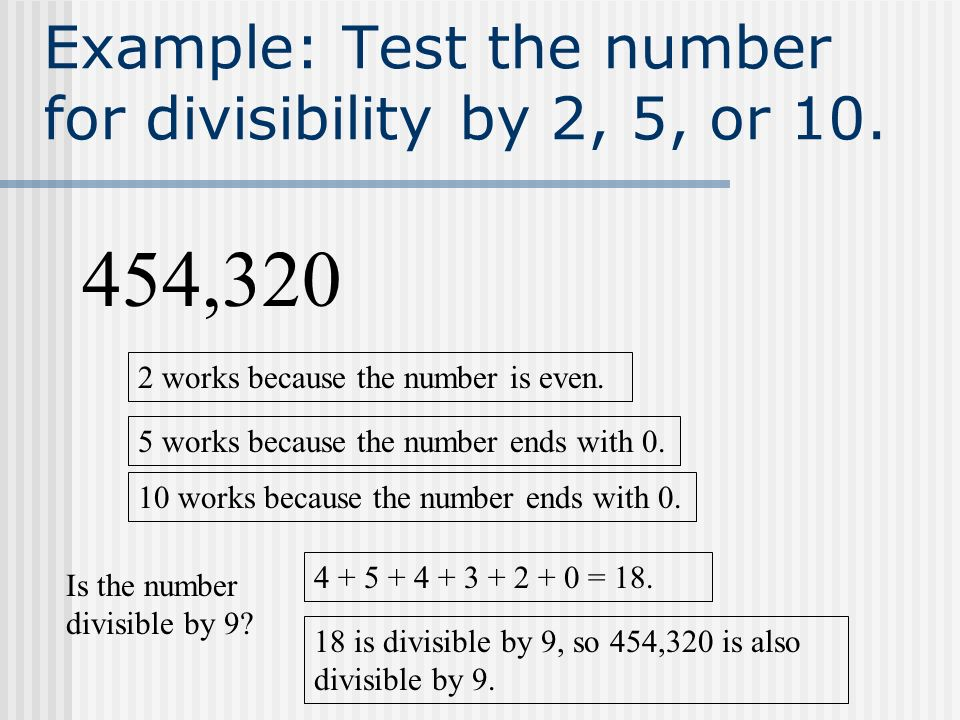 Example: Test the number for divisibility by 2, 5, or 10.