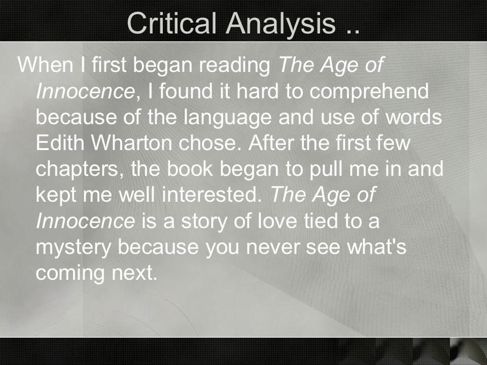 Critical Analysis ..