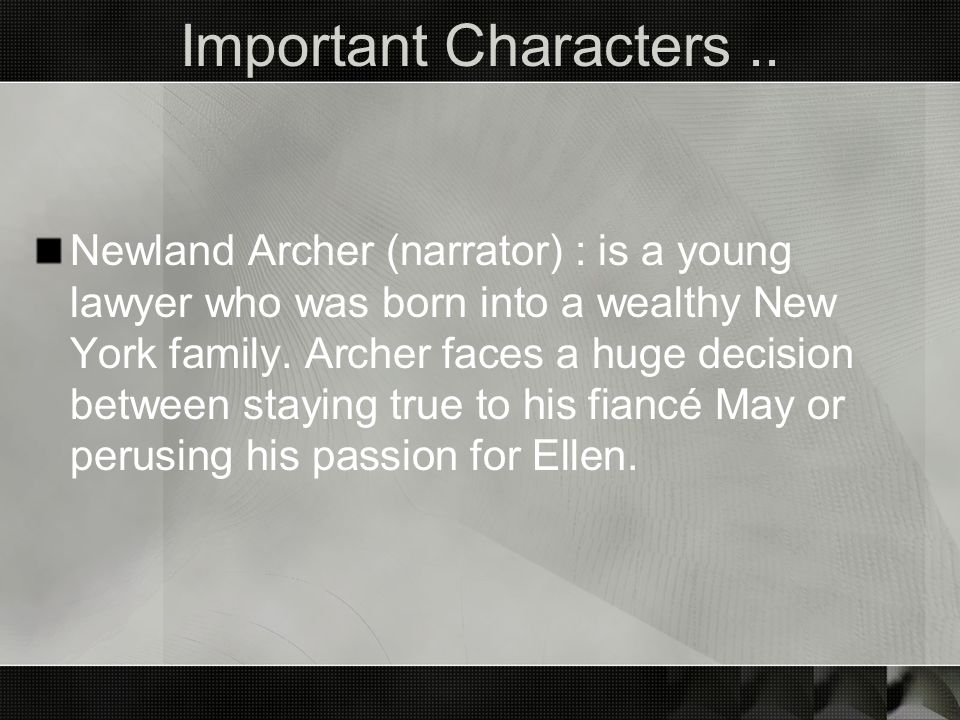Important Characters ..