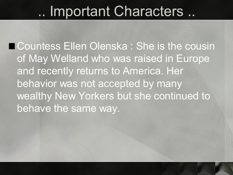 .. Important Characters ..