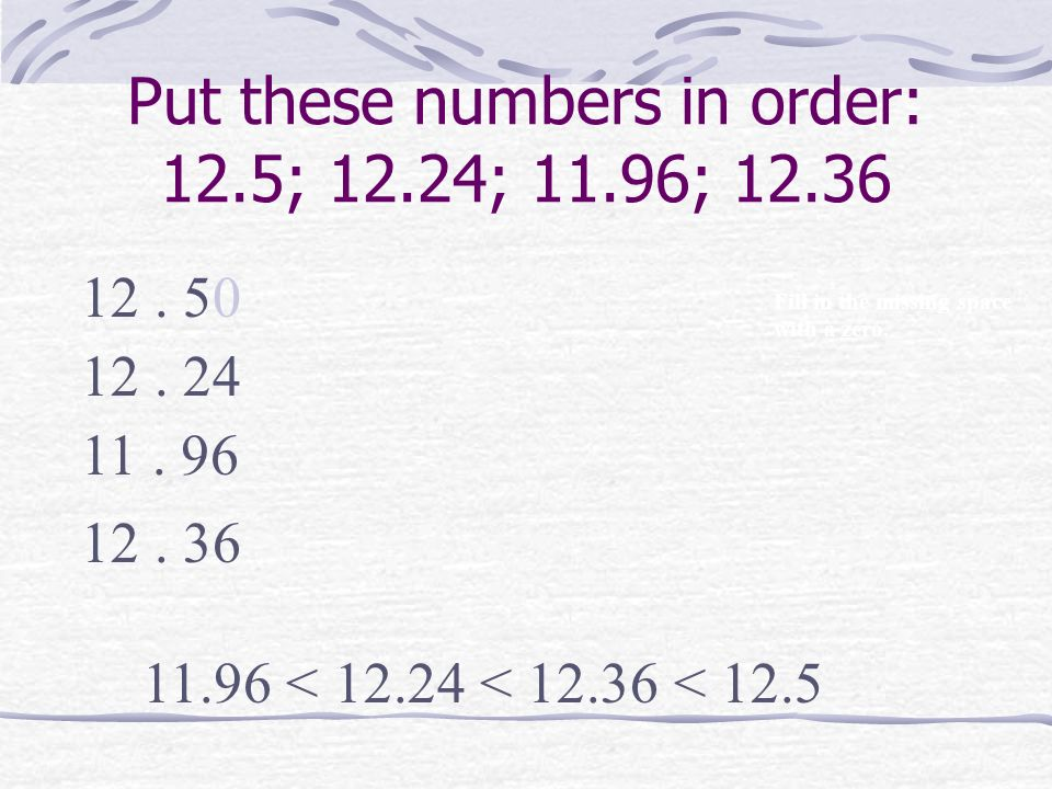 Put these numbers in order: 12.5; 12.24; 11.96; 12.36
