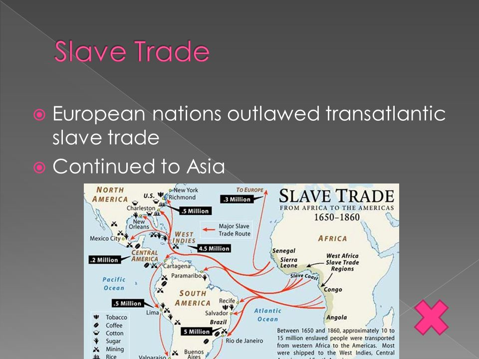 Slave Trade European nations outlawed transatlantic slave trade