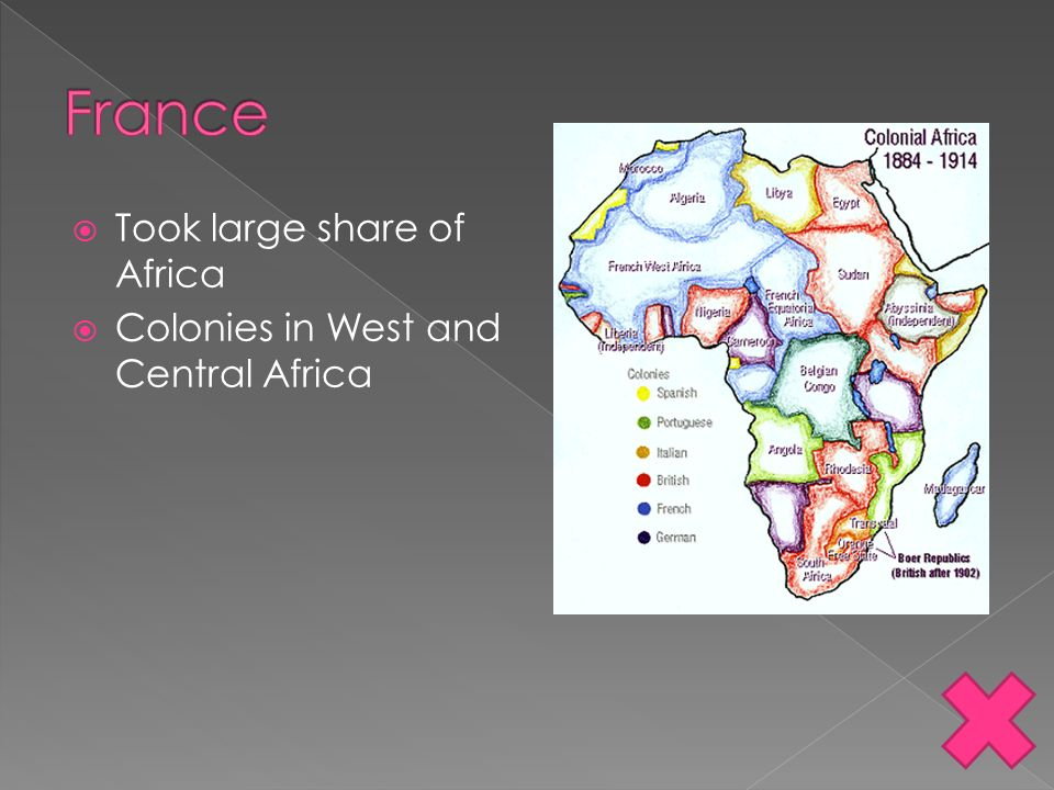 France Took large share of Africa Colonies in West and Central Africa
