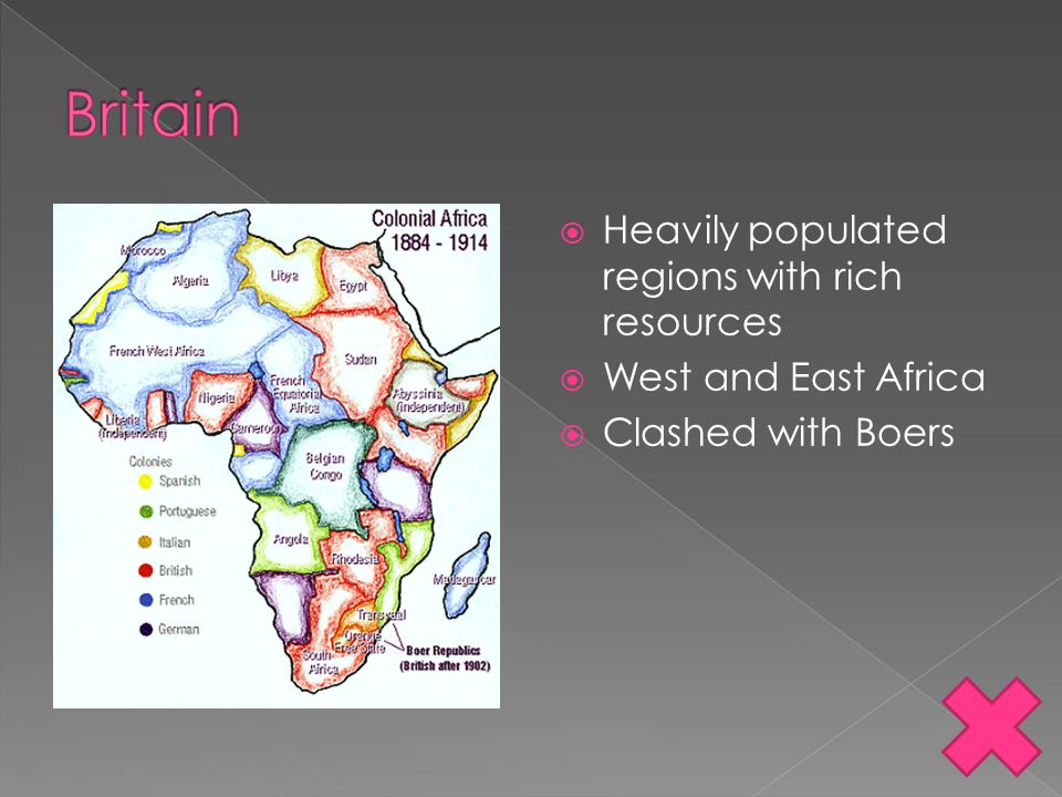 Britain Heavily populated regions with rich resources