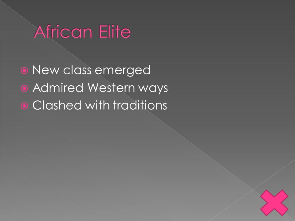 African Elite New class emerged Admired Western ways