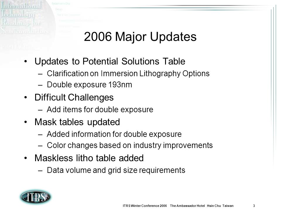 2006 Major Updates Updates to Potential Solutions Table