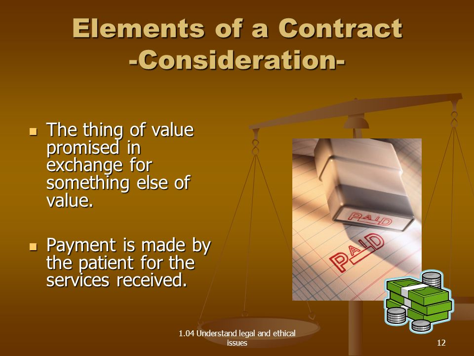Elements of a Contract -Consideration-