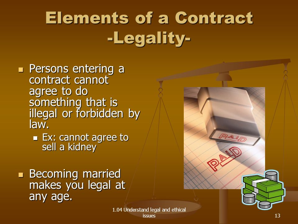 Elements of a Contract -Legality-