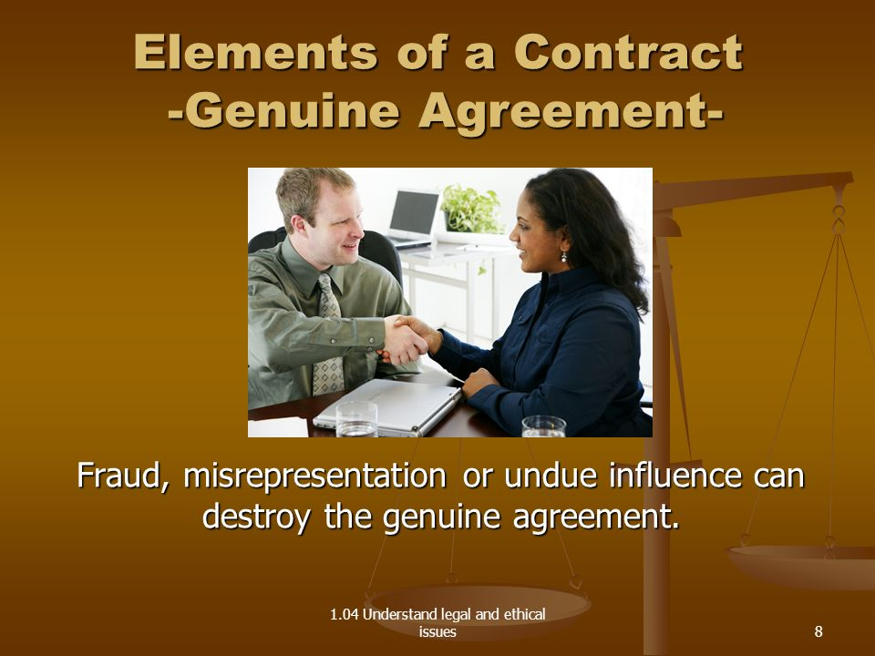 Elements of a Contract -Genuine Agreement-
