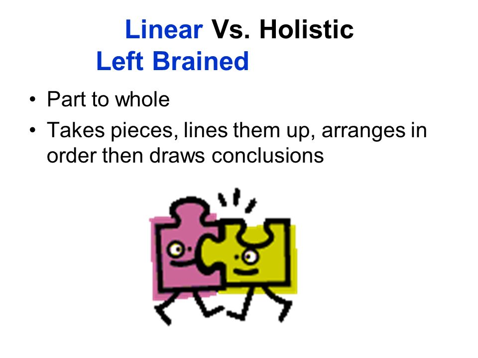 Linear Vs. Holistic Left Brained