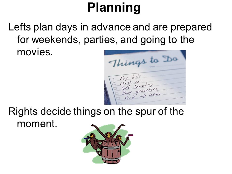 Planning Lefts plan days in advance and are prepared for weekends, parties, and going to the movies.