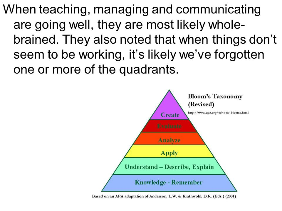 When teaching, managing and communicating are going well, they are most likely whole-brained. They also noted that when things don't seem to be working, it's likely we've forgotten one or more of the quadrants.