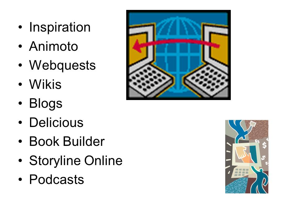 Inspiration Animoto Webquests Wikis Blogs Delicious Book Builder Storyline Online Podcasts