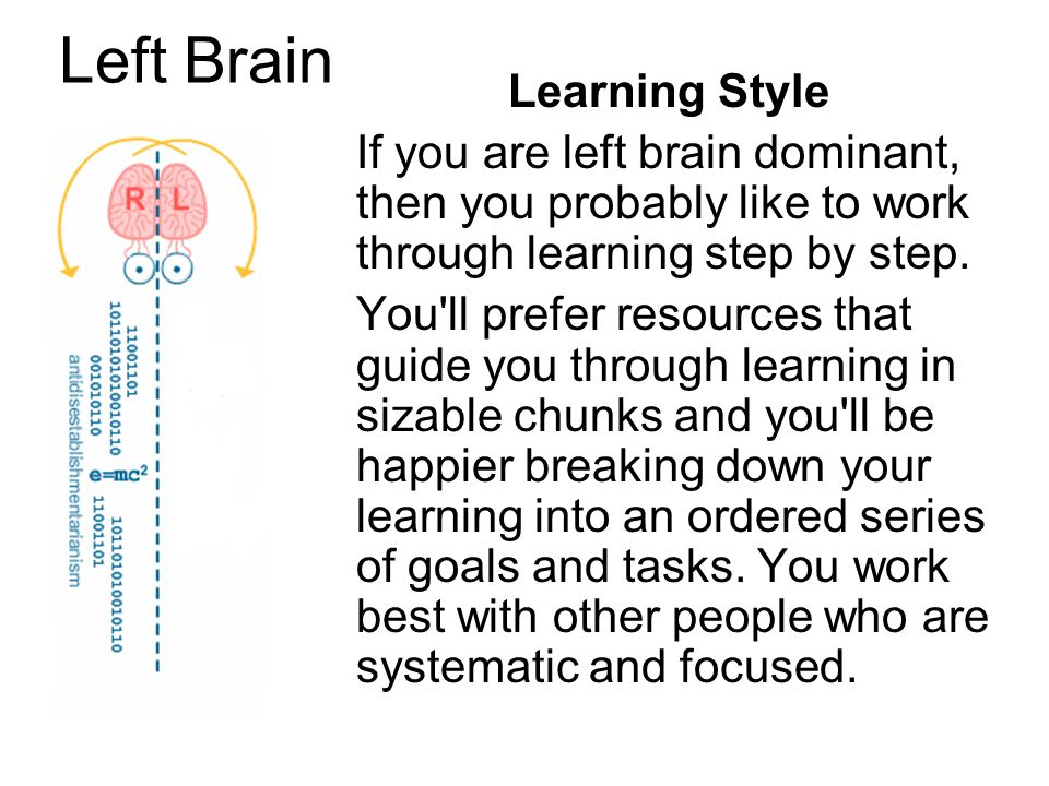 Left Brain Learning Style