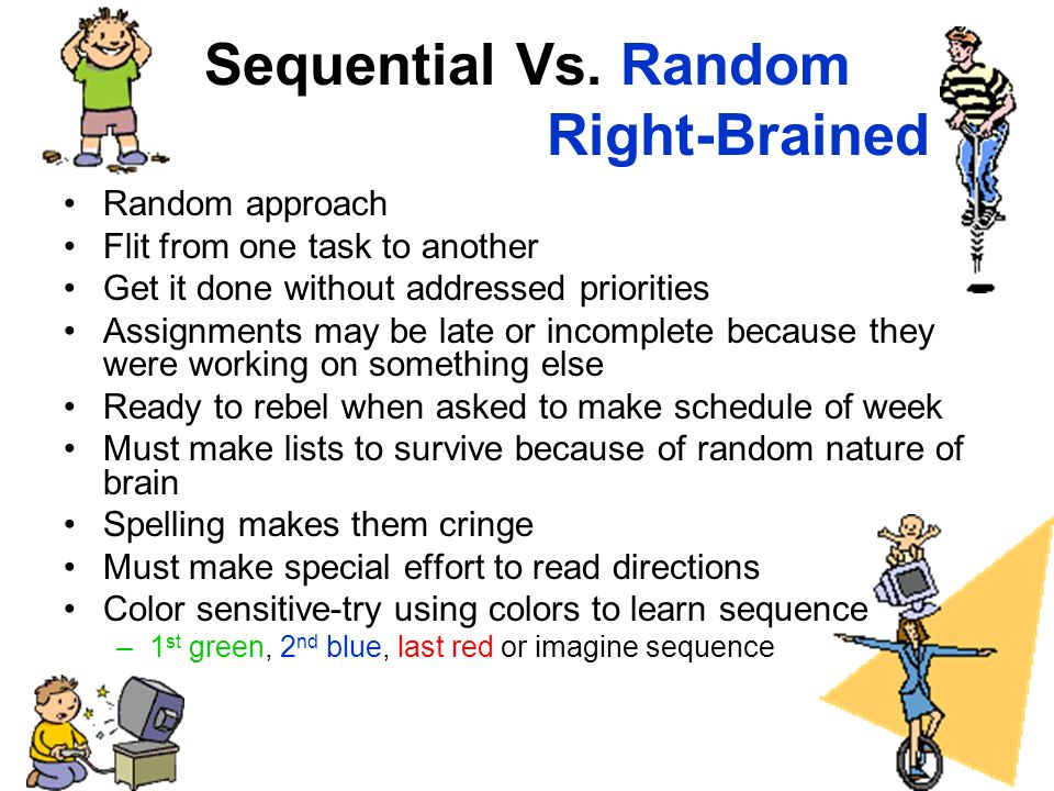 Sequential Vs. Random Right-Brained