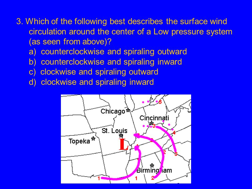 3. Which of the following best describes the surface wind circulation around the center of a Low pressure system (as seen from above)