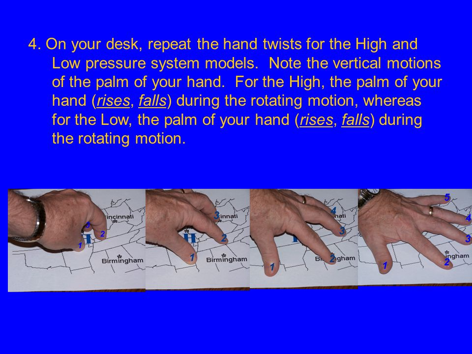 4. On your desk, repeat the hand twists for the High and Low pressure system models.