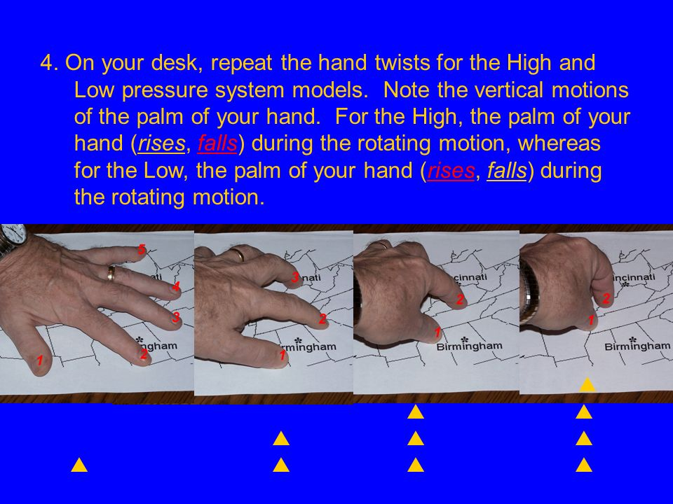 4. On your desk, repeat the hand twists for the High and Low pressure system models. Note the vertical motions of the palm of your hand. For the High, the palm of your hand (rises, falls) during the rotating motion, whereas for the Low, the palm of your hand (rises, falls) during the rotating motion.