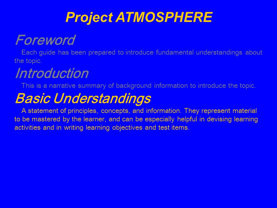 Project ATMOSPHERE Foreword Introduction Basic Understandings