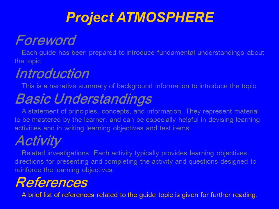 Project ATMOSPHERE Foreword Introduction Basic Understandings Activity