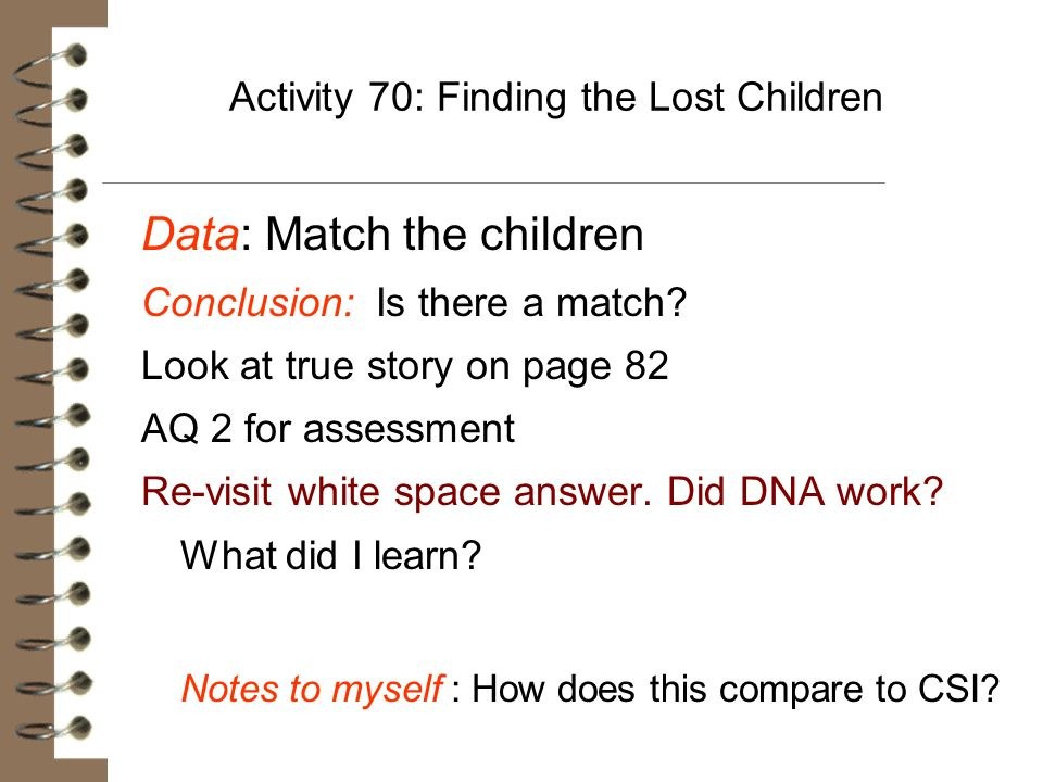 Activity 70: Finding the Lost Children