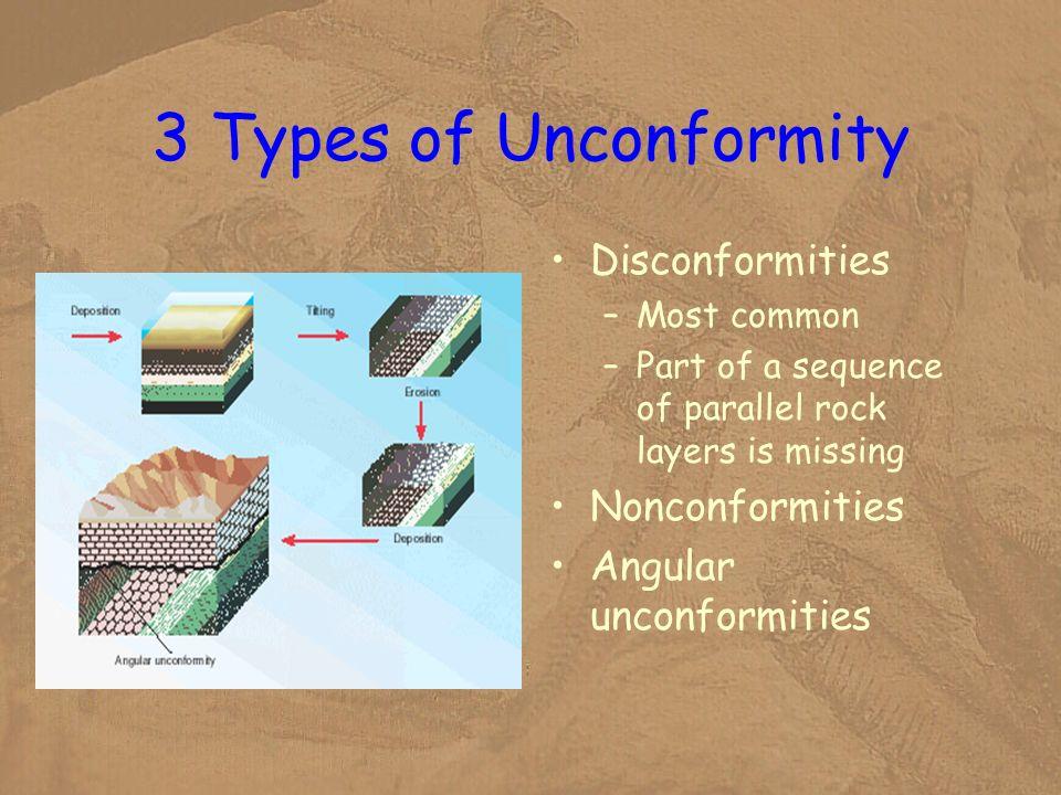 3 Types of Unconformity Disconformities Nonconformities