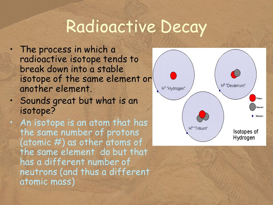 Radioactive Decay The process in which a radioactive isotope tends to break down into a stable isotope of the same element or another element.