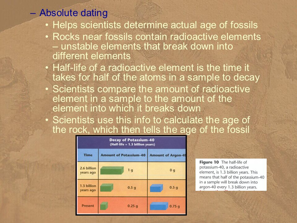 Absolute dating Helps scientists determine actual age of fossils.