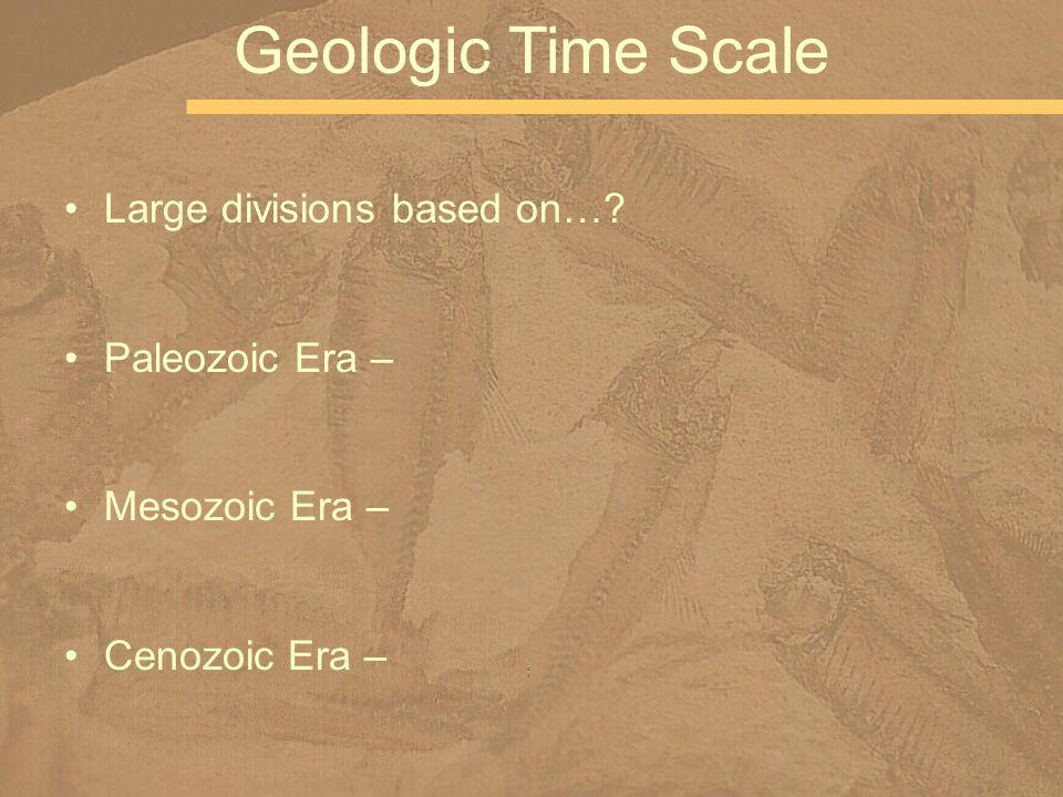 Geologic Time Scale Large divisions based on… Paleozoic Era –